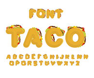 Police de Taco Aliments de préparation rapide mexicains ABC Alphabet de Tacos traditionnel je Photos stock