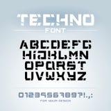 Police de technologie Géométrique, sport, alphabet futuriste et futur de techno Lettres et nombres pour etc. militaire et industr illustration libre de droits