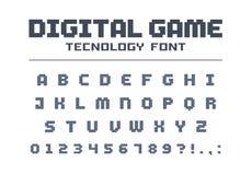 Police de technologie de jeu de Digital Rétros lettres et nombres pour la vidéo, ordinateur, conception mobile de logo d'APP Art  illustration de vecteur