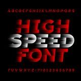 Police de vecteur à grande vitesse d'alphabet Type lettres et nombres d'effet de vent sur un fond noir illustration libre de droits