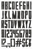 Police de vecteur à main levée de peinture de jet de pochoir d'affiche de propagande de vintage avec les lettres majuscules, les  Image stock