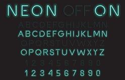 Police de vecteur d'alphabet de lampe au néon Photographie stock