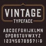 Police de vecteur d'alphabet de vintage avec la texture affligée de recouvrement Photographie stock libre de droits