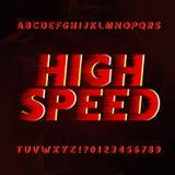 Police de vecteur d'alphabet de vitesse Type lettres et nombres d'effet de vent sur un fond abstrait illustration libre de droits