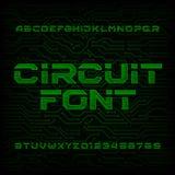 Police de vecteur futuriste d'alphabet de carte Dactylographiez les lettres et les nombres sur un fond foncé illustration libre de droits
