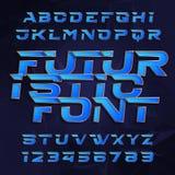 Police de vecteur futuriste d'alphabet Effectuez le type lettres et nombres sur un fond polygonal illustration libre de droits