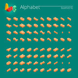 police de vecteur isométrique de l'alphabet 3d Lettres, nombres et symboles isométriques Typographie courante tridimensionnelle d Photographie stock