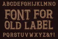 Police de vintage pour le vieux label Alphabet anglais d'isolement Photos stock