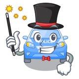 Police de voiture de magicien d'isolement avec dans la mascotte illustration stock