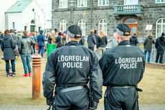 Police at a demonstration against the government of Iceland duri Stock Image