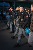 Police and demonstrators in Milan, Italy Royalty Free Stock Photo