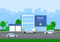 Police department in the city with police cars Stock Photo