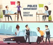Police Department Horizontal Banners. Police department and scene of offender arrest horizontal banners describing working process of staff in office and outdoor vector illustration