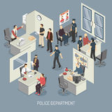 Police Department Isometric Composition Stock Photography