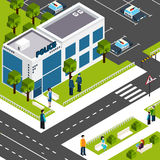 Police department station isometric poster Royalty Free Stock Photography