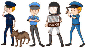 Police in different uniforms. Illustration royalty free illustration