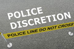 Police Discretion concept. 3D illustration of POLICE DISCRETION title on the ground in a police arena Stock Photography