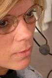 Police dispatcher's face. A close up of a police dispatcher's face Stock Image
