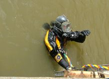 Police dive unit at incident, search and recovery. Of contraband, explosives weapons or drugs royalty free stock photo