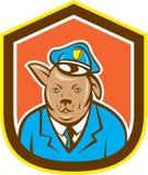 Police Dog Canine Shield Cartoon Stock Image