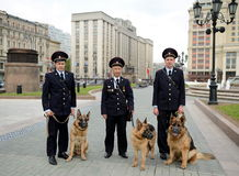 Police dog handlers in Moscow. Royalty Free Stock Images
