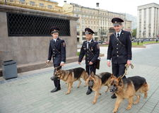Police dog handlers in Moscow. Stock Image