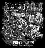 Police doodle illustration wallpaper background line sketch styl. E set on chalkboard Royalty Free Stock Photo