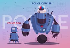 Police drone robot. Patrol cop with artificial intelligence. Police drone robot with a dog. Patrol cop with artificial intelligence. Vector cartoon illustration vector illustration