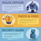 Police drone robot. Patrol cop with artificial intelligence. Police drone robot with a dog. Patrol cop with artificial intelligence. Vector cartoon illustration royalty free illustration