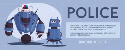 Police drone robot. Patrol cop with artificial intelligence. Police drone robot with a dog. Patrol cop with artificial intelligence. Vector cartoon illustration stock illustration