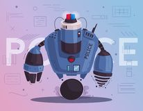 Police drone robot. Patrol cop with artificial intelligence. Vector cartoon illustration. Brutal android. Future technologies royalty free illustration