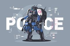 Police drone robot. Patrol cop with artificial intelligence. Vector illustration royalty free illustration