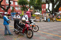 Police on the Dutch square in Malacca, Malasia Royalty Free Stock Photos