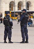 Police on duty at Praca dos Comercio Lisbon Portugal. Royalty Free Stock Photos