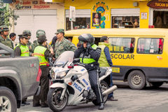 Police Of Ecuador Organize The Welcoming For The President Royalty Free Stock Image