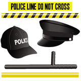 Police elements collection, hat, bat and signals stock illustration