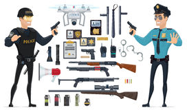 Police Elements Collection. With policemen weapons grenades batons speaker radio documentation handcuff flashlights quadrocopter isolated vector illustration Stock Image