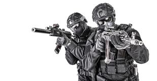 Police elite squad fighters protecting each other stock image