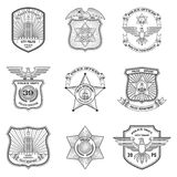 Police Emblems Set Stock Photos