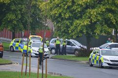 Police incident car crash, RTC. Police emergency incident car crash into car, RTC road traffic casualty royalty free stock images