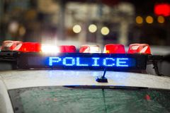 Police emergency lights with warning text royalty free stock image