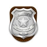 Police en acier argentée, insigne de sécurité sur l'illustration blanche de vecteur de fond illustration libre de droits