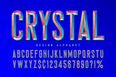 Police en cristal d'affichage avec des facettes, l'alphabet, des lettres et des nombres illustration stock
