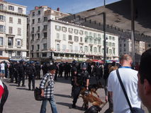 Police and English fans in Marseille Stock Photography