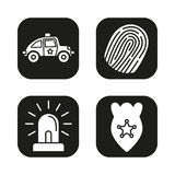 Police equipment icons set. Car, fingerprint, flasher, badge symbol. Vector white silhouettes illustrations in black squares.  Stock Images