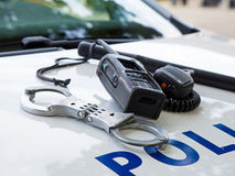 Police equipment on a  police car Stock Photography