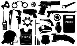 Police equipment. Set of different police equipment isolated Royalty Free Stock Photography