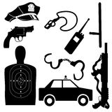 Police equipment set. Silhouette of police equipment set stock illustration
