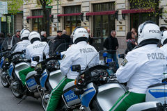 Police escort on motorcycles Stock Images