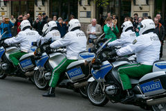 Police escort on motorcycles Stock Photo